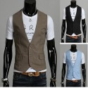 men's vest linen brown 3 button