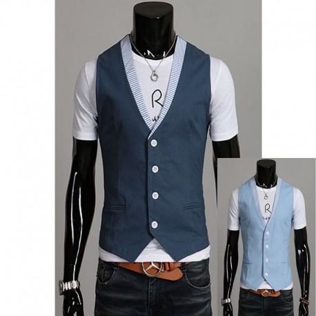 men's vest linen stripe collar