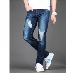 skinney jeans hommes étendent en détresse