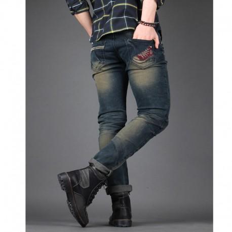 i jeans skinney degli uomini di lavaggio olio tasca conversano indietro