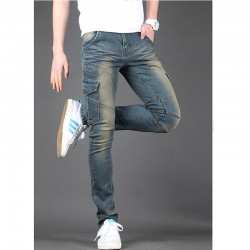 Jeansy męskie skinney podwójne bocznej kieszeni