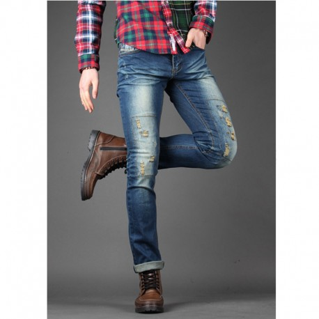 men's skinney jeans distressed stitch