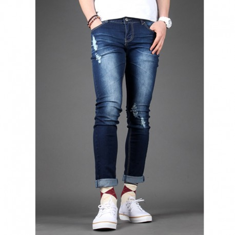 men's skinney jeans basic distressed simple