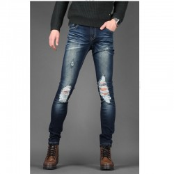 jeans skinney genou hommes lavé