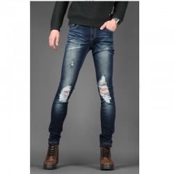 мужские джинсы skinney колено промывают