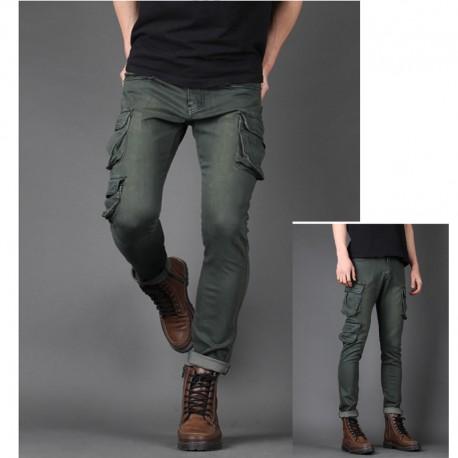 men's work jeans loose wallet multi pocket