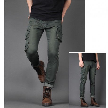 męskie jeansy pracy luźne wielu kieszeni portfel