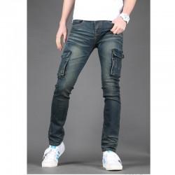 męskie jeansy pracy luźne portfel podwójna kieszeń
