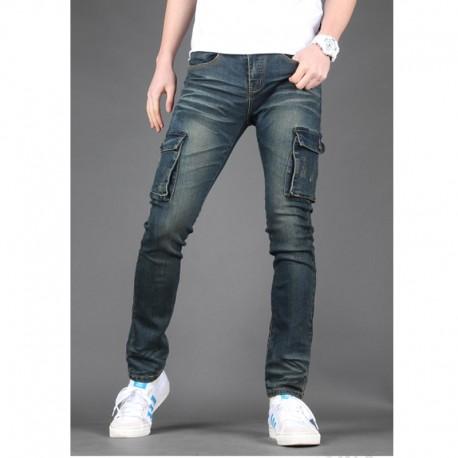 мужская работа джинсы свободные бумажник двойной карман