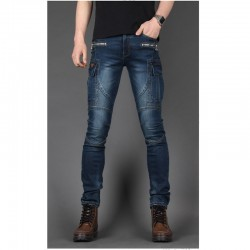 biker jeans hommes poche mince coupe latérale solide