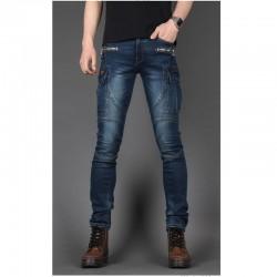 i jeans motociclista degli uomini taglio solido sottile tasca laterale