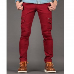 men's slim fit cotton pants biker dandy zipper
