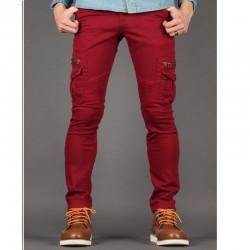 subțire pantaloni din bumbac se potrivesc cu fermoar motociclist filfizon pentru bărbați