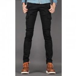 чоловічий Slim Fit бавовни брюки кнопка байкер гаманець 1