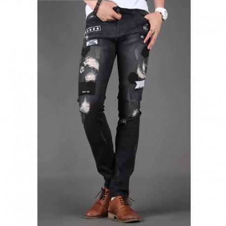 uomini jeans skinny sottile punk
