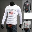 stelle Boston e strisce camicie rotonde degli uomini