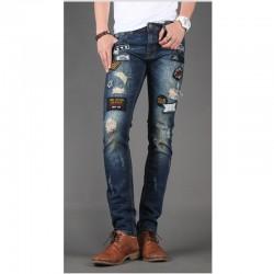 мужские узкие джинсы тонкий панк-синий деним