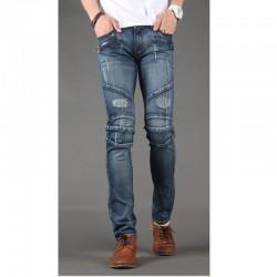 мужские узкие джинсы тонкий байкерские брюки