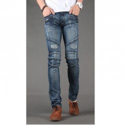 uomini jeans skinny pantaloni sottili motociclista