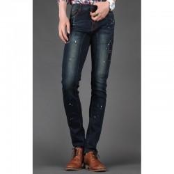 men's skinny jeans slim biker intaglio