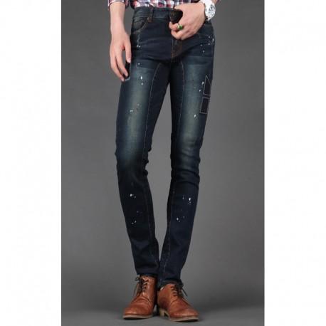 uomini jeans skinny sottile intaglio motociclista