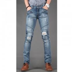 чоловічі вузькі джинси тонкий байкер кишеню на блискавки