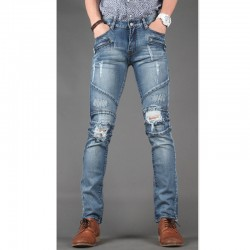 мужские узкие джинсы тонкий байкер карман на молнии