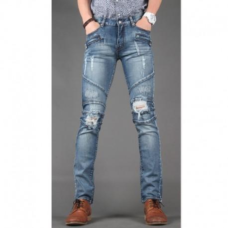 men's skinny jeans slim biker zipper pocket