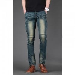 uomini jeans skinny sottile motociclista tasca con cerniera coscia