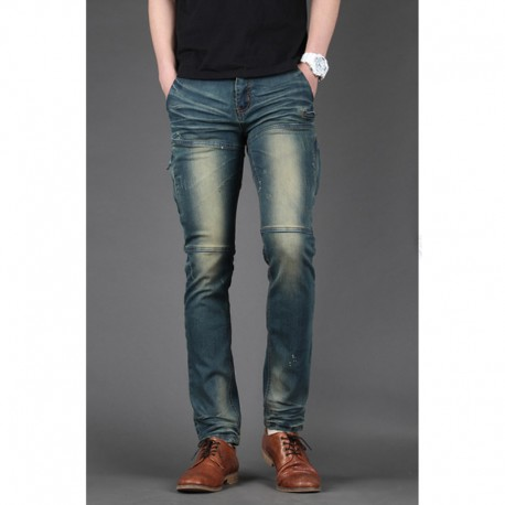 men's skinny jeans slim biker thigh zipper pocket