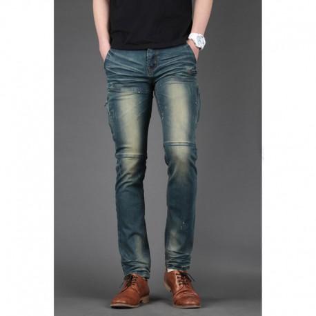 pánske džínsy chudá štíhla biker stehenné vrecko na zips