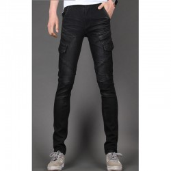biker mince jeans skinny hommes double poche 3D