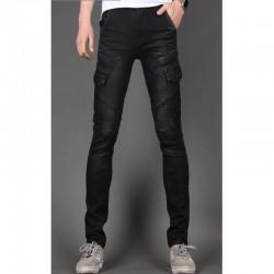 skinny jeans degli uomini sottili motociclista doppia tasca 3D