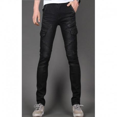 Männer dünne Jeans schlank Biker Doppel 3D-Tasche