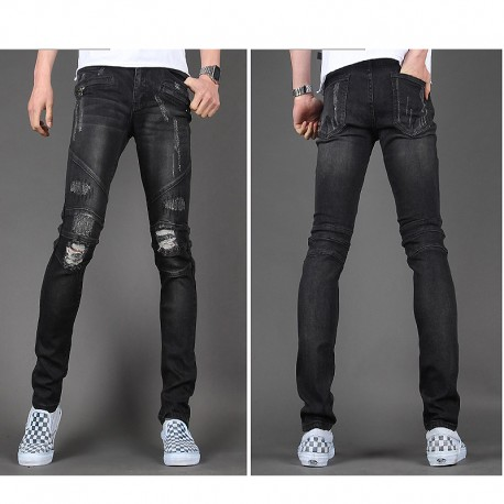 skinny jeans pour hommes mince motard de sabotage