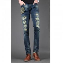 skinny jeans da uomo sottile tasca camo unico