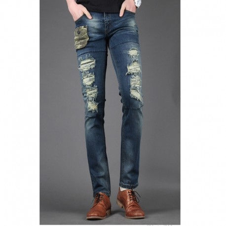 mannen skinny jeans slank unieke camo pocket