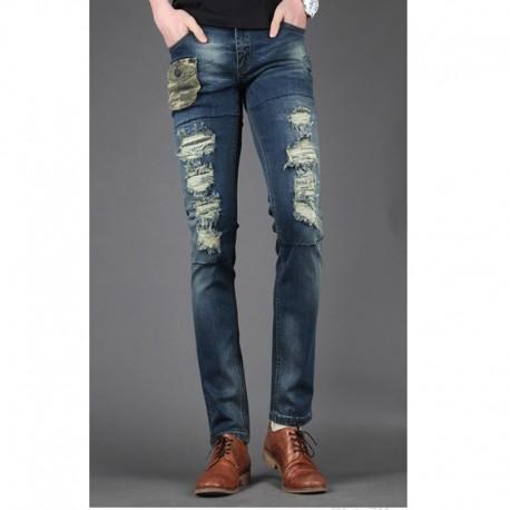 pánske úzke džínsy slim Unikátny kamufláž vrecko