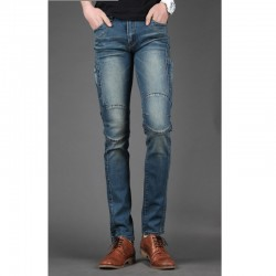 anca taglio solido skinny jeans degli uomini sottili