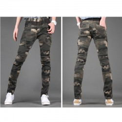 erkekler slim fit pamuklu pantolon camoflage