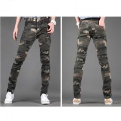 slim fit pantaloni de bumbac camoflage pentru bărbați