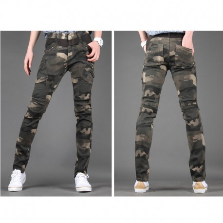 heren slim fit katoenen broek camoflage