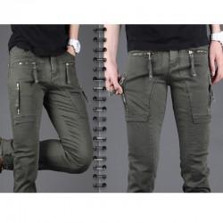 erkekler slim fit pamuklu pantolon askısı fermuar