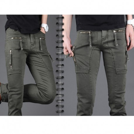 men's slim fit cotton pants strap zipper