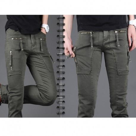 pánske slim fit bavlnené nohavice popruh zips