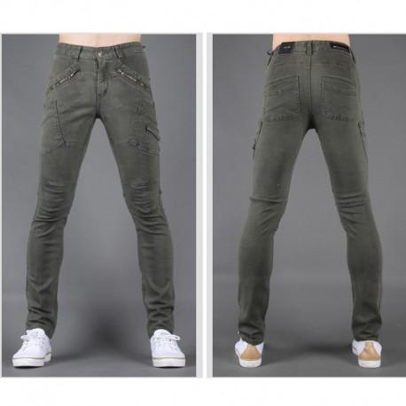 мужские узкие джинсы тонкая диагональная рука карман