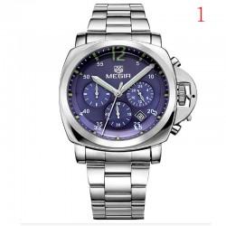 megir mens ceas cronograf maro dată piele încheietura cuarț ceas militare 44mm