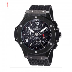 megir Chronograph 24 valandų funkcija men'sport žiūrėti silikono aukso prabangus laikrodis