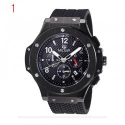 megir chronographe fonction 24 heures men'sport regarder silicone montre de luxe en or