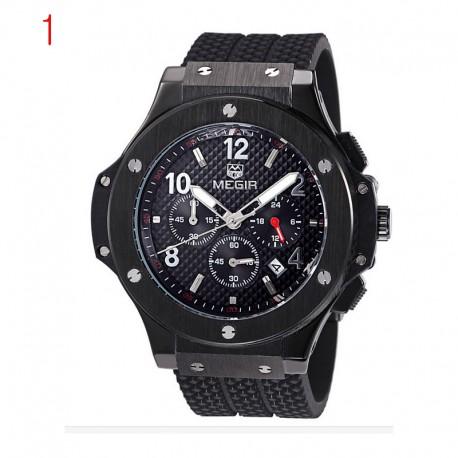 megir chronograf Funkce 24 hodin men'sport sledovat silikonový zlato luxusního hodinářství